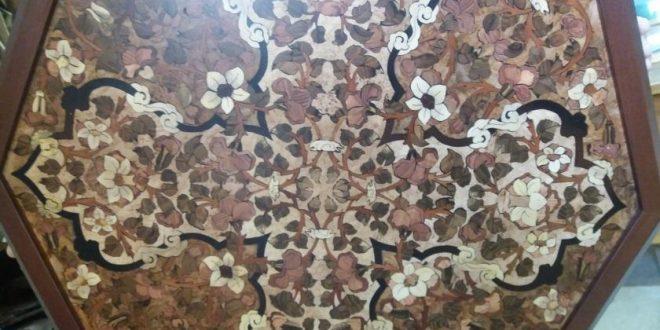 ساخت میز معرق هشت گوش با طرح گل و برگ قاجاری
